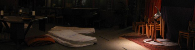 Church worship space with mattresses on the floor